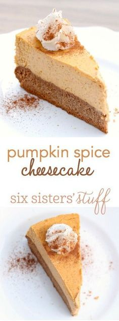Pumpkin Spice Cheesecake from http://SixSistersStuff.com | So easy and amazing, this chewy spice cake crust with creamy pumpkin spice cheesecake filling is great for the holidays!m