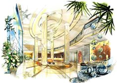 Grand Four Wings Convention Hotel Hotel Lobby Interior Design, Hotel Room Design, Interior Design Sketches, Interior Rendering, Interior Architecture, W Hotel, Hotel Logo, Hotel Floor Plan, Hotel Reception