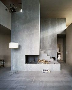 Arquitectura - Architectural composition of the fireplace and staircase, House Müller Gri. Concrete Fireplace, Fireplace Design, Concrete Stairs, Fireplace Wall, Concrete Building, Fireplace Ideas, Fireplace Drawing, Fireplace Candles, Country Fireplace
