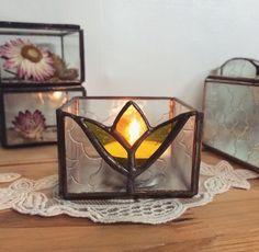 Stained glass tea light holder