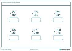 Ficha de realizar las sumas propuestas de tres cifras para niños de siete a ocho años por la que tendrán que hacer las seis sumas y escribir el resultado debajo de cada una. Math, 1, Frosting, Preschool Printables, Teacher Binder, Math Skills, Math Resources, Cake Glaze, Frostings