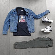 WEBSTA @ wdywt - or: by 3 for on-feet photos for outfit lay down photos Simple Outfits, Casual Outfits, Men Casual, Jordans Outfit For Men, Olive Clothing, Urban Fashion, Mens Fashion, Teen Boy Fashion, Black Ripped Jeans
