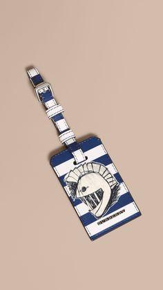 Porte-étiquette en cuir London à motif Pallas Helmet Bleu Cyan Vif | Burberry