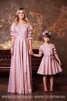Бежевое цветочное платье крестьянка. Комплект Мама Дочка