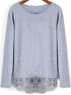 Grey Round Neck Lace Hem T-Shirt