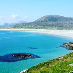 Harris, Scotland...known for sandy beaches on the west coast and rugged mountains in the north. In the east is an area of miniature fjords called the Bays.