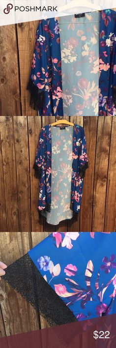 Nasty Gal Kimono Nasty Gal Kimono Floral Print Lace detail Perfect for the beach/pool Has a few very small pulled strings but are hardly noticeable Nasty Gal Other
