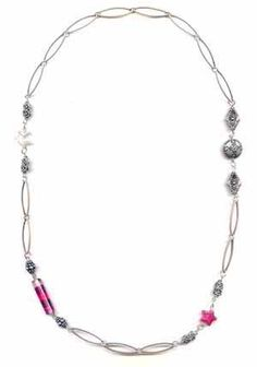 Venezia Long necklace with tubes and metal beads