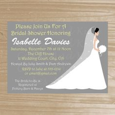 Bridal Shower Invitation - Grey and Yellow Bridal Shower Invitation - Printable Bridal Shower Invite - Digital File on Etsy, $10.00