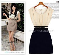 Summer Women's European & American Sleeveless Pleated Office Dress New 2014 Fashion OL Work Dress Cascading Business Dress S-XL $9.98