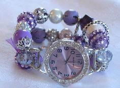 Purple Chunky Beaded Interchangeable Watch Band and by BeadsnTime, $30.00
