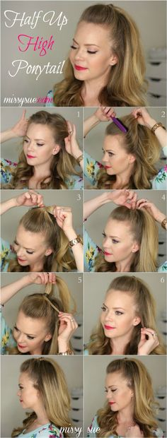 Amazing Half Up-Half Down Hairstyles For Long Hair - Half Up High Ponytail - Easy Step By Step Tutorials And Tips For Hair Styles And Hair Ideas (high updo tutorial) Down Hairstyles For Long Hair, Trendy Hairstyles, Half Pony Hairstyles, Hairdos, College Hairstyles, 1950s Hairstyles, Beautiful Hairstyles, Summer Hairstyles, Halfway Up Hairstyles