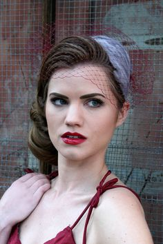 Bridal Birdcage Veil Bandeau Style  Burgundy  Free by Beckamade, $35.00