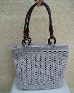 kabelka háčkovaná velká  -šedohnědá