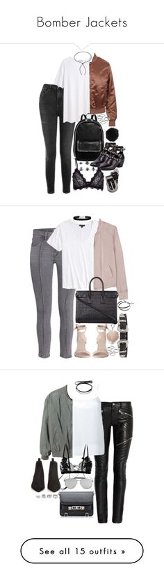 """""""Bomber Jackets"""" by marinas-clothes ❤ liked on Polyvore featuring Topshop, T By Alexander Wang, Acne Studios, STELLA McCARTNEY, Yves Saint Laurent, Anine Bing, BKE, Apt. 9, River Island and Lanvin"""