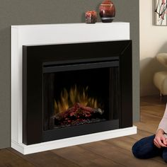 Dimplex Ebony Electric Fireplace Convertible Mantel Package - BFSL-BMBLK  Build nice mantel around this