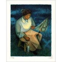 "TOFFOLI Louis - Lithographie Originale ""La Fileuse"""