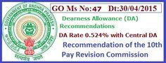 GO 47  Dearness Allowance(DA) Rate 0.524% AP PRC 2015GO 47 DA RPS 2015, GO Ms No: 47 Dearness Allowance(DA) Recommendations 10th Pay Commission , AP PRC 2015 DA GO 47 Dt:30/04/2015
