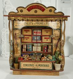 """A Circle of Dolls - January 214 All-Original French Miniature Toy Grocery Store """"Fruits et Primeurs"""" Art Antique, Antique Toys, Vintage Toys, Dolls House Shop, Doll Shop, Antique Dollhouse, Dollhouse Miniatures, Victorian Toys, Metal Grill"""