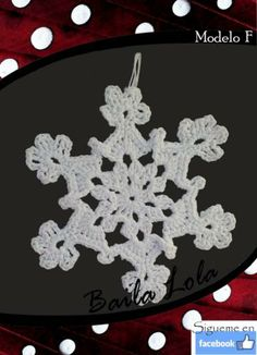 copito de nieve, hecho en ganchillo Symbols, Jewelry, Art, Snowflakes, Christmas Ornaments, Holiday Ornaments, Crocheting, Projects, Facts