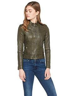 BOSS Orange Janabelle2 10193769 01 Blouson Veste en cuir Manches Longues Femme Vert (Dark Vert) 38 (Taille fabricant: 10) Mantel, Leather Jacket, Fabricant, Jackets, Clothes, Shoes, Fashion, Women, Leather Jackets