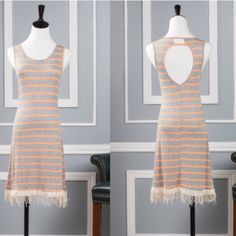 Available!!  Gray and orange stripe fringe dress Gray and orange stripe fringe dress.  Small and medium available.  Price firm unless bundled. Dresses