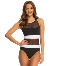 $98 Anne Cole Mesh High Neck Keyhole One Piece Swimsuit at SwimOutlet.com – The Web's most popular swim shop