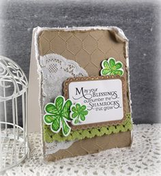Shamrock Blessings by Vervegirl - Cards and Paper Crafts at Splitcoaststampers Luck Of The Irish, Embossing Folder, Cool Cards, Greeting Cards Handmade, Homemade Cards, St Patricks Day, Decorative Boxes, Blessed, Paper Crafts