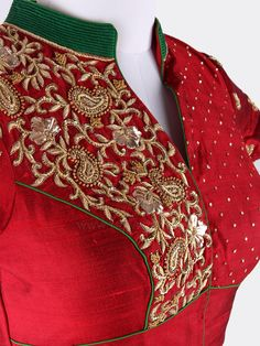 Complete the attire look with this stand neck ready choli is enhanced with embroidery work. Made from Raw Silk fabric in Maroon color. Zardosi Embroidery, Hand Embroidery, Embroidery Designs, Ethnic Outfits, Indian Outfits, Indian Fashion, Women's Fashion, Raw Silk Fabric, Sari Blouse Designs