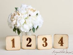 Wood Table Numbers Vintage Inspired Rustic Wedding by braggingbags