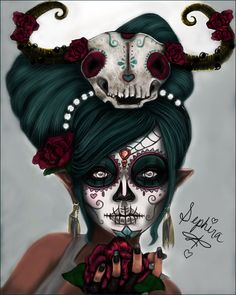 Wish I knew more about day of the dead Voodoo Doll Makeup, Voodoo Dolls, Sugar Scull, Sugar Skull Art, Rockabilly Artwork, Sugar Skull Makeup, Day Of The Dead Skull, Chicano Art, Beautiful Disaster