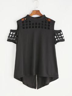 Shop Black Open Shoulder Laser Cut Out Split Back T-shirt online. SheIn offers Black Open Shoulder Laser Cut Out Split Back T-shirt & more to fit your fashionable needs.