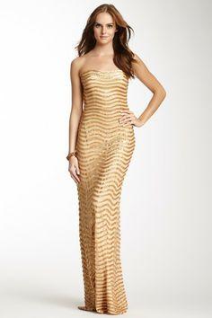 Mesh Sequin Stripe Gown by La Femme on @HauteLook