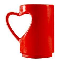 Red mug with heart handle