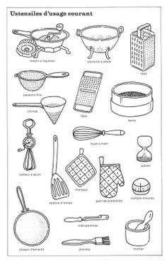 Vocabulaire dans la cuisine fle - Liste ustensile de cuisine ...