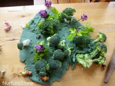 Playdough jungle small world - interesting way to use broccoli!