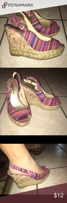 STRIPED WEDGES Striped wedges, variety of colors on them! Sz 6 1/2 Shoes Wedges