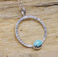 Turquoise eeuwigheid cirkel ketting hanger zilver drijvende Artisan spiralen