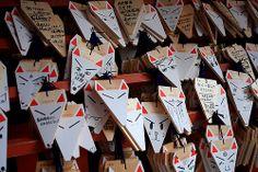 fox shaped votive pictures at Fushimi Inari Shrine, Kyoto/JAPAN