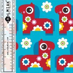 Shalmiak Pony Bloom (blue) Organic Cotton French Terry - EMROSE FABRICS
