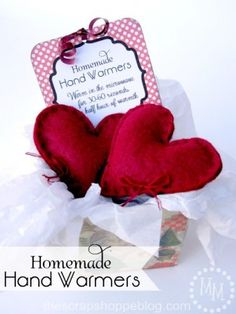 Homemade Hand Warmers. I think this would be a cute Valentine's day gift, but with fun fabrics.