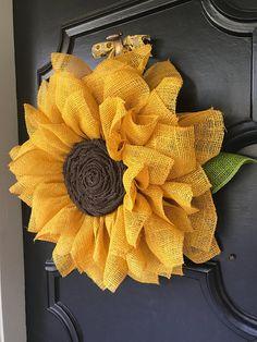 Sunflower Burlap Wreath – Sunflower Nursery Wall Art – Sunflower Wedding Decor - Under the Kentucky Sun Sunflower Burlap Wreaths, Burlap Flowers, Fabric Flowers, Paper Flowers, Burlap Crafts, Wreath Crafts, Diy Wreath, Wreath Burlap, Deco Mesh Wreaths