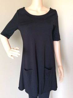 20a6997f74 FOREVER 21 Women s Dress Career A Line Tunic Pockets Black Short Sleeves  Medium