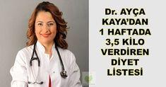 Hayat Mutfakta: Dr. Ayça Kaya 1 Haftada 3,5 Kilo Verdiren Diyet Programı