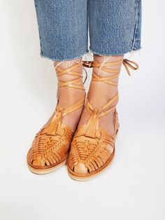 Chamula Footwear Tan Monarch Wrap Flat at Free People Clothing Boutique