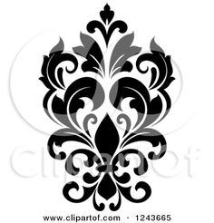 Clipart of a Black and White Arabesque Damask Design 24 - Royalty Free Vector Illustration by Vector Tradition SM Stencil Wall Art, Wall Stencil Patterns, Mosaic Wall Art, Stencil Designs, Stencils, Rangoli Borders, Rangoli Border Designs, Birthday Background Design, Motifs Islamiques