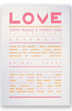 Typography Love Letterpress Wedding Program by David's Bridal | Follow us and start pinning pretty paper options - from invitations and save the dates to programs and table numbers - for a chance to win $1,000 to InvitationsbyDavidsBridal.com. Enter here: http://sweeps.piqora.com/rsvpready