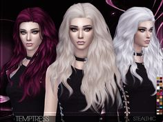 Stealthic - Temptress (Female Hair) - The Sims 4 Catalog Sims 4 Tsr, My Sims, Sims Cc, Sims 4 Curly Hair, Sims Hair, Curly Hair Styles, Sims Mods, Sims 4 Cc Folder, The Sims 4 Cabelos