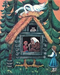 Baba Yaga. Illustration to Russian folk tale The Magic Swan Geese (Gusi-lebedi)