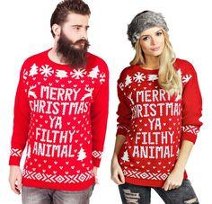 Unisex Merry Christmas Ya Filthy Animal Xmas Novelty Jumpers Home Alone Slogan #infinity #Crewneck